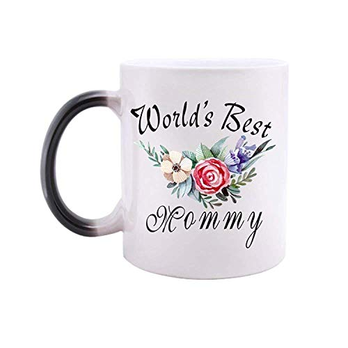 Floral quotes mug world's best mommy morphing mug healthy ceramic heat color changing mug best gift idea for mom/girlfriend/friends/coworkers