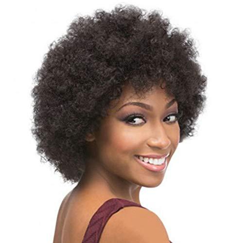JIAXFA Kurze lockige Haare Negro Perücke schwarz Kleine Volumen Perücke Urlaubsparty hohe Temperatur Seide Rose Net volle Perücke ()