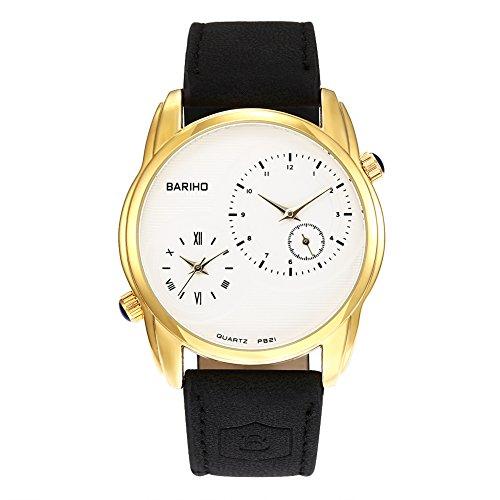 iLove EU Herren Armbanduhr Analog Quarz 30M Wasserdicht 2 Zeitzonen Uhr mit Leder Band und Gold Gehäuse