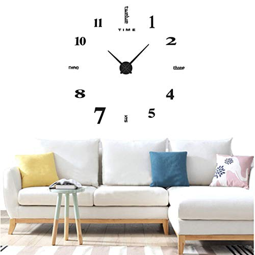 Yolistar moderno orologio da parete fai da te, 3d adesivo orologio parete decorazione, silenzioso facile da montare parete decorazione per casa, ufficio, hotel - (nero)
