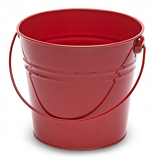 Steel Serving Bucket Red 15.5cm - Red Galvanised Steel Bucket for Cutlery, Condiments or Serving Food