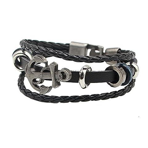 Mens Bracelet Wristband Bangle Circlet Leather Handcrafted Wristlet for Men Women (Black)