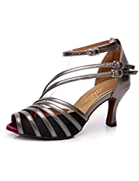 JSHOE Damen Latin Dance Schuhe Salsa/Tango/Tee/Samba/Modern/Jazz Schuhe Sandalen High HeelsB-heeled85cm-UK45