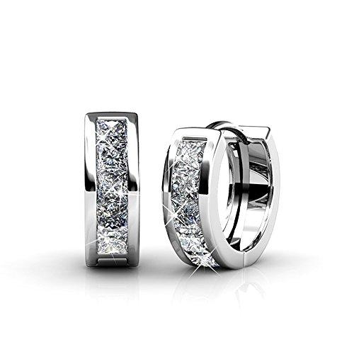 Weissgold Schmuck Ohrringe (Damen Ohrringe Set mit Kristall aus SWAROVSKI - Schöner Schmuck für Frauen - Yolora)