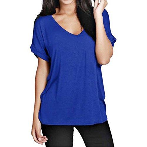 Femme T-shirt, Reaso Mode Tassel Sexy Haut à manches courtes d'été en vrac Blouse Bleu