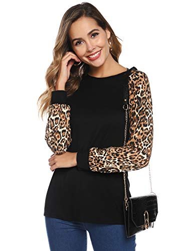 Hawiton Camisetas de Mujer Leopardo, cómoda Camiseta de Matorral, Elegantes Manga Larga Cuello Redondo Ajustado Camisas otoño Invierno