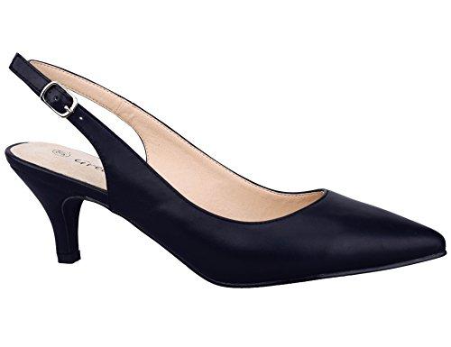 Greatonu Zapatos de Tacón Negros PU Nuevos Espigones Sintéticos para Mujer Tamaño 39 EU