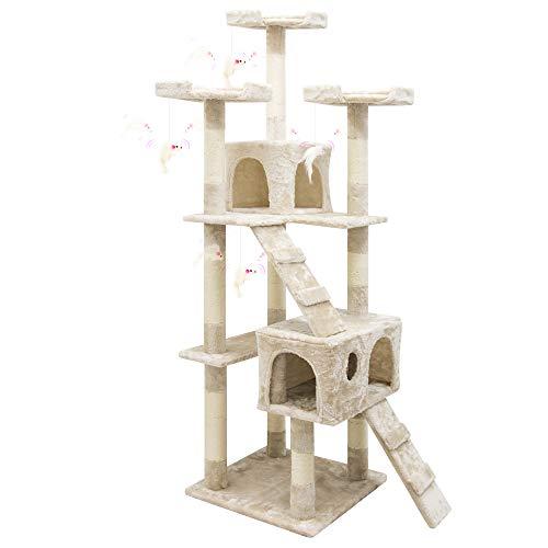 Albero per Gatto con Graffiatoio Cuccia Giocattolo Gatti Parco Giochi Tiragraffi in Sisal Naturale 170 x 49 x 49 cm (Colore Beige Conan 30055)