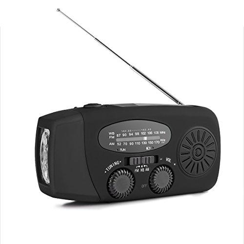 FORNORM Kurbel Radio mit Solar, Dynamo Hand Kurbelradio mit 1000mAh Power Bank und USB Aufladung und 3 LED Taschenlampe, AM/FM/NOAA für Camping Angeln im Freien, Schwarz