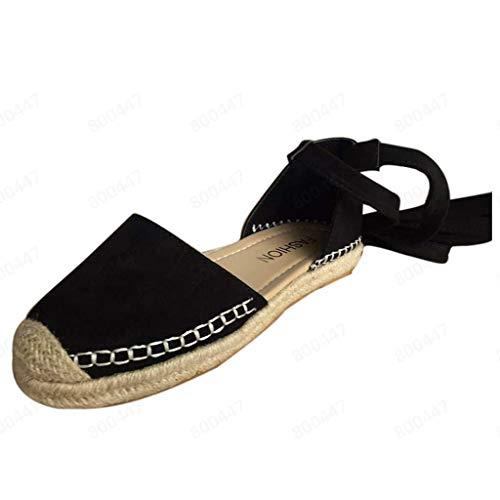 für Damen, geschnürte Espadrilles mit geschlossener Zehenpartie, Schwarz, Khaki, Rosa, Armee-Grün, Flache Schuhe, breite Passform, Sandalen mit Zehenstoßstange ()