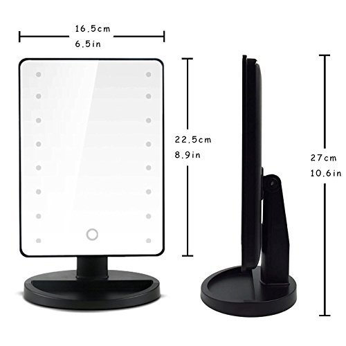 Vanity Stand (Makeup Light Mirror, 8m 16 LEDs Touch Light Illuminated Cosmetic Desktop Vanity Mirror with Stand,Handy Touching On/Off Black by Charminer)