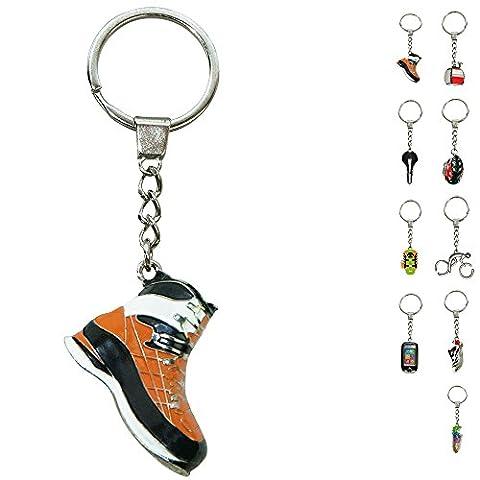 ebos Schlüsselanhänger ✓ aus Metall ✓ Accessoire   fob key   Sport   Sportarten (Bergschuh / orange-schwarz)