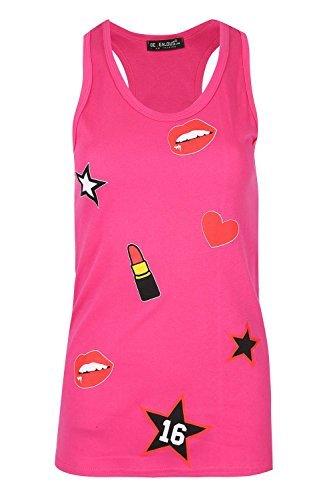 Be Jealous Damen Rundhals LIPSTICK STARS LIPPEN HERZ Damen Racer Muskelshirt Weste T-Shirt Top Uk Größe 8-14 Kirschrot