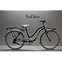 Ciclos ferrareis Bicicleta Bicicleta de Mujer 26 (allluminio 7 V Negra Fucsia Personalizable
