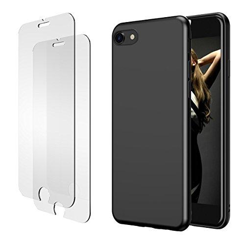 iPhone 7 8 Hülle, iPhone 7 8 Panzerglas, E-Unicorn Apple iPhone 7 8 Hülle Silikon Schwarz Matt Tasche Schutzhülle + 2 Stück Schutzfolie Glas Folie Zubehör 9H 3D