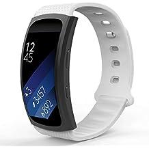 MoKo Samsung Gear Fit2 Correa, Watch Band Deportiva de Silicona Suave Reemplazo Sport Band para Samsung Gear Fit 2 SM-R360 Smart Watch, Blanco (3 Piezas de Bandas incluido para 2 Longitudes)