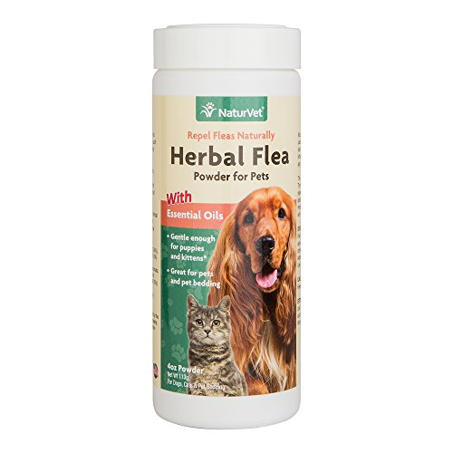 NaturVet Natural HERBAL FLEA POWDER for Dogs & Cats Also Great for Bedding 118ml