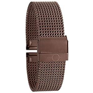 22mm BandOh Edelstahl Milanaise Uhren Armband Braun mit Sicherheitsverschluss