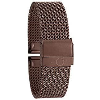 22mm-BandOh-Edelstahl-Milanaise-Uhren-Armband-Braun-mit-Sicherheitsverschluss