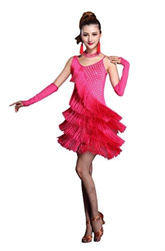 Honeystore 2017 Neuheiten Damen U-Ausschnitt Quasten Swing Rhythmus Jazz Latein Dance Kleid Fuchsie XL (Jazz Dance Kostüm Billig)