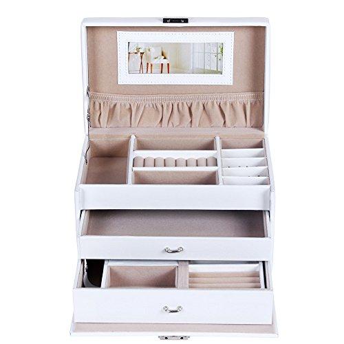 Songmics Schmuckkästchen abschließbar mit spiegel Schublade und Mini-Box (Weiß) JBC126W - 4