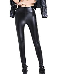 DianShao Mujeres PU Leggins Cuero Skinny Elásticos Pantalones Cintura Alta  Legging 207591af9b1b