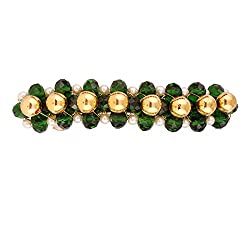 Accessher Green Jewelled designer back clip hair accessories with pearls and beads for Women