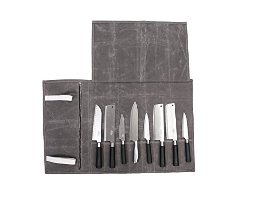 12oz gewachstem Canvas tragbare Mehrzweck-Vintage Leder Messertasche Köche Tasche Fall Messer Aufbewahrungstasche Geldbeutel mit 8Slots (hgj17-c)