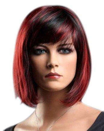 kalyss Damen Bob kurze Perücke schwarz rot Farbe Hitze Resist Sammler Party Haar Perücke