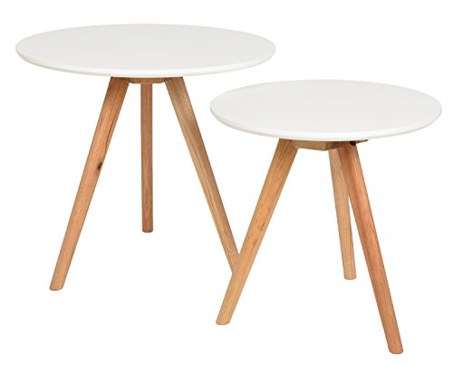 ts-ideen Ensemble de 2 tables Design Table basse ronde en chêne Table de café table de chevet Blanc