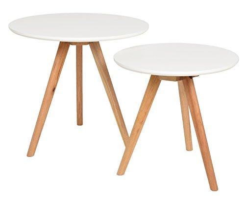 ts-ideen 7852 Ensemble de 2 tables Design Table basse ronde en chêne Table de café table de chevet Blanc