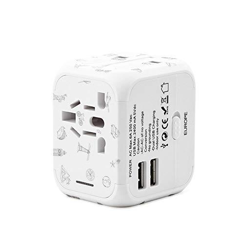 ZLIJUN Travel Conversion Plugs Worldwide Europa Russland UK Japan Korea Ausländische Dual USB Universal Socket Converter,White