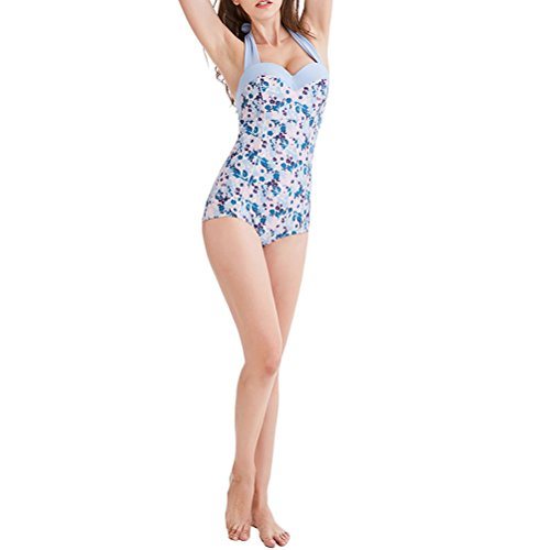 Zhhlaixing Swimwear Donna Women Floral Print Halter Tummy Control Monokini Costumi da bagno Bathing Suit Swimming Costume Light blue floral