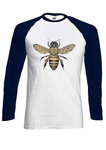 Bee Drawing Moth Insect Tattoo Novelty Black/White Men Women Damen Herren Langarm Unisex Baseball T Shirt Verschiedene Farben *Navy Blau
