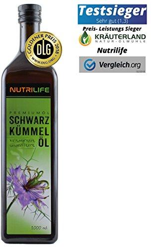 Schwarzkümmelöl • kaltgepresst • 100% naturrein und naturbelassen • !! UNGEFILTERT !! • 1000ml • Frischegarantie: täglich mühlenfrisch direkt vom Hersteller Kräuterland Natur-Ölmühle