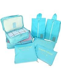 Organizadores de Viaje para Maletas, 8 Set Bolsas de Equipaje Impermeable Cubos Embalaje de Viaje Organizador de Maleta para Ropa Zapatos, Cosméticos Accesorios, Material Nylon
