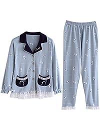 Mmllse Nouveau Pyjama Pansement Cardigan Bleu Frais Sommeil Vêtement De Nuit  Printemps Et Automne Pyjama Ensembles 48c6df6c7be