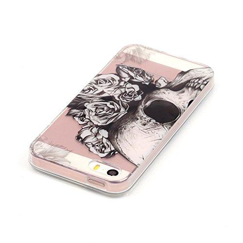 Coque iPhone 5 silicone, LuckyW Housse Etui TPU Silicone Clear Clair Transparente Gel Slim Case pour Apple iPhone 5 5S SE Soft de Protection Cas Bumper Cover Converture Anti Poussières Couvercle Anti  Crâne