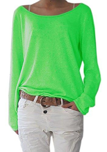 Damen Rundhalsausschnitt Langarm Lose Bluse Strickpulli Hemd Shirt Oversize Sweatshirt in Vielen Trend Farben Tops S/M L/XL (632) (L/XL, Neon Grün)