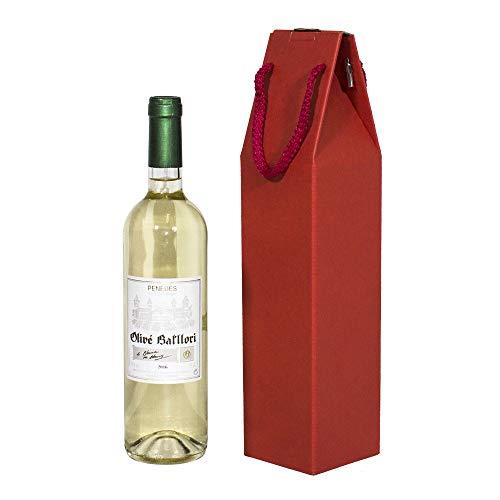 Il Kartox | Caso 1 bottiglia di vino con manico | Scatola di cartone per vino | 25 unità-rosso