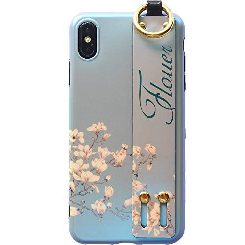 GUYISJK Mobile Shell Flower Armband Blu-Ray Shell Women's Mobile Phone Case, Ip-XS Max Hellblau -
