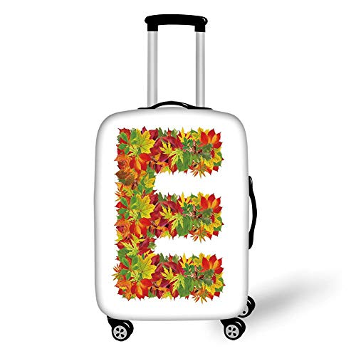 Travel Luggage Cover Suitcase Protector,Letter E,Chestnut Maple Leaves Natural Oak Petals Vibrant Colors E Symbol Print,Vermilion Yellow Green,for Travels 19x27.5Inch -
