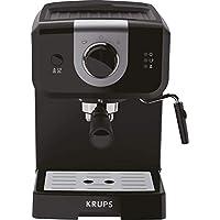 Krups Opio XP320810 - Cafetera (15 bares, calienta tazas y espumador de leche, control giratorio), color negro y plateado (Reacondicionado Certificado)