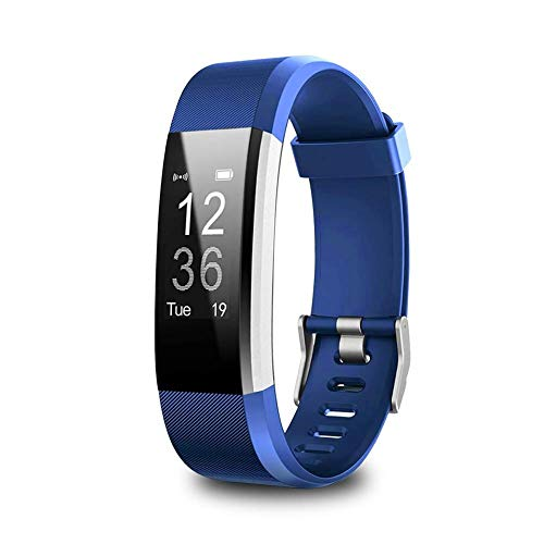 Litake Bluetooth Smart Fitness Tracker,Bluetooth Smart Watch Heart Rate Blood Pressure Monitor,Blue