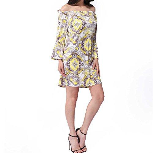 Meijunter Sommer-Frauenrock Weinlese-Blumendruck-lange Hülse A-liniges beiläufiges Kleid-Partei-Bleistift-Kleid W555