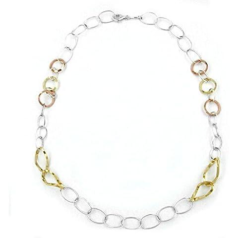 Collana in argento 925 collana argento Sterling Latotsa collana drachensilber 3 colori Tricolor con Rose Gold occhielli, 53 cm