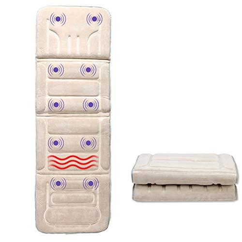 Massage-Matten Voller Körper Tiefe Shiatsu Kneten Rückenschmerzen Relief Beheizte Massagematte Matratze,Beige