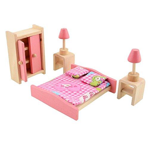 Kinder Schlafzimmer Möbel-set (Peradix Minipuppen Holzspielzeug Puppenhaus Holzmöbel Spielzeug Schlafzimmer 7-teillig)