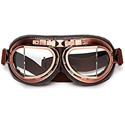 LEAGUE&CO Gafas Para Moto Viento Retro Vintage Gafas de Protección Gafas Piloto Gafas de Protección, Gafas de Aviador, Gafas para Casco, Transparente