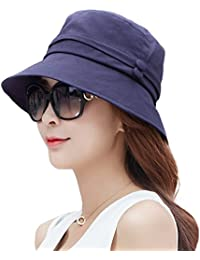 Siggi Ladies Bucket Summer Sun Hat Foldable Beach Cap Wide Brim UPF50+  Packable for Women a54fea58de64